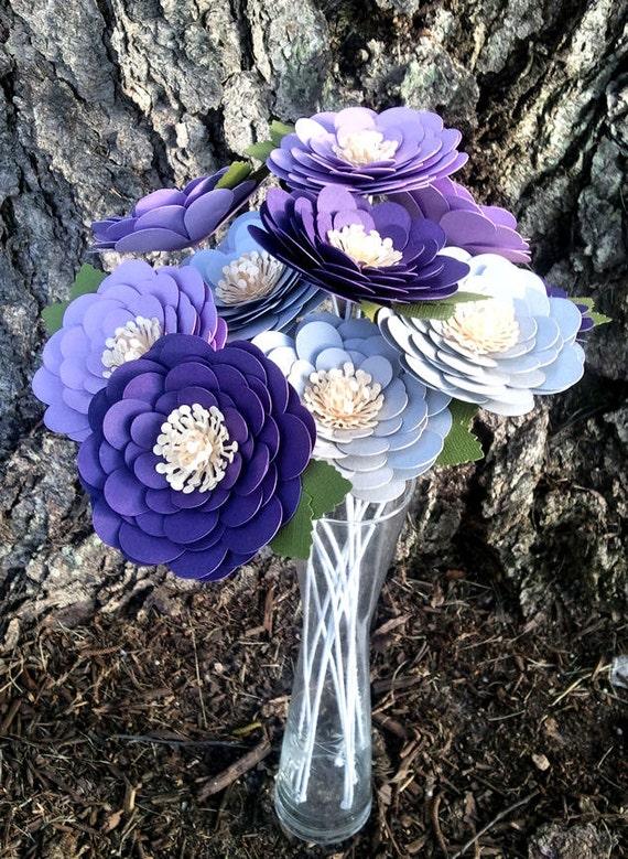 Paper Flowers - Stemmed Daisy - Purple - Lavender - Grey - Wedding - Bridal Shower - Made To Order - SET OF 12