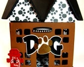 Custom Dog Treat Storage Hand-Painted  Paper Mache House
