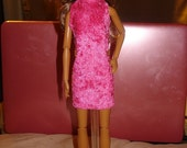 Hot pink Velour high collar dress for Fashion Dolls - ed256