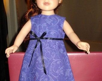 Handmade 18 inch Doll A-line dress in a purple swirl print - ag64