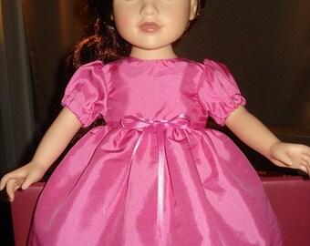Shiny pink taffeta full dress for 18 inch Dolls - ag65