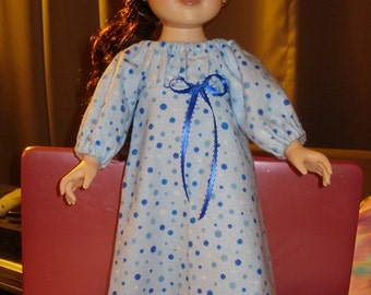 Blue dotted Flannel Peasant nightgown and Slippers for 18 inch Dolls - ag78