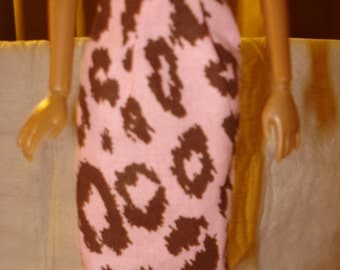 Fashion Doll Coordinates -  A-line skirt lite pink and brown Leopard print- es66