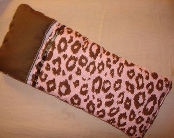 Fashion Doll sized sleeping bag in pink and brown Leopard - bsb1