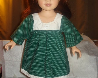 Modest green and white polka dot dress for 18 inch Dolls - ag157