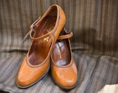 60s - Sweet Mary Jane - whiskey color stacked heel pumps - size 7 8 estimate