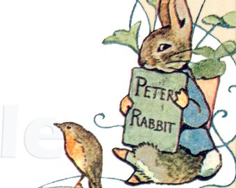 Friends of Beatrix Potter-Adhesive Bookplates - Personalized Bookplates - Vintage Art - STicKERS- Perfect BABY SHOWER