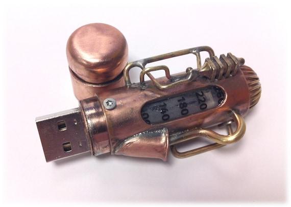 Steampunk 16GB USB Flash Drive Model 101 in a Tin Box, Double Indicator Lights