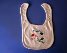 Baby Bib-  Embroidery and appliqued breakfast lunch and dinner