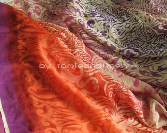 "silk fabric, Silk chiffon Border Print Fabric, half yard by 54"" wide"