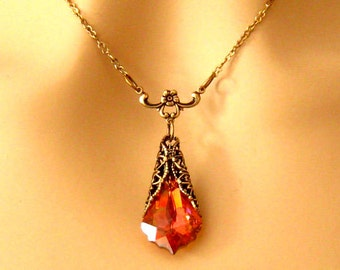 Orange Bridesmaids Necklace: Romantic Antiqued Gold Victorian Filigree Chili Pepper Swarovski Crystal Necklace, Bridal Wedding Jewelry Prom