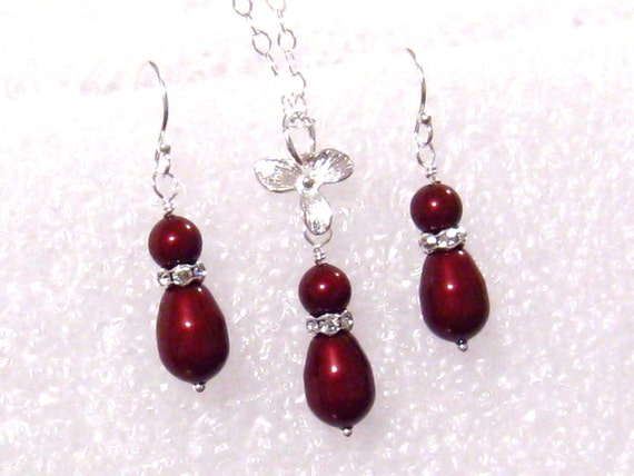Apple Red Pearl Bridesmaids Jewelry Set, Swarovski Bordeaux Apple Red Pearl Wedding Set, Orchid, Sterling Silver, Red Bridesmaids Gift