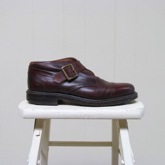 Vintage 1990s Mens Boots / 90s Brown Leather Ankle Boots / Monk Boots / Eur 42 US 8.5