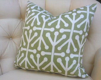 "2 Pillow Covers Cushion s 18x18""  sage green modern geometric tribal"