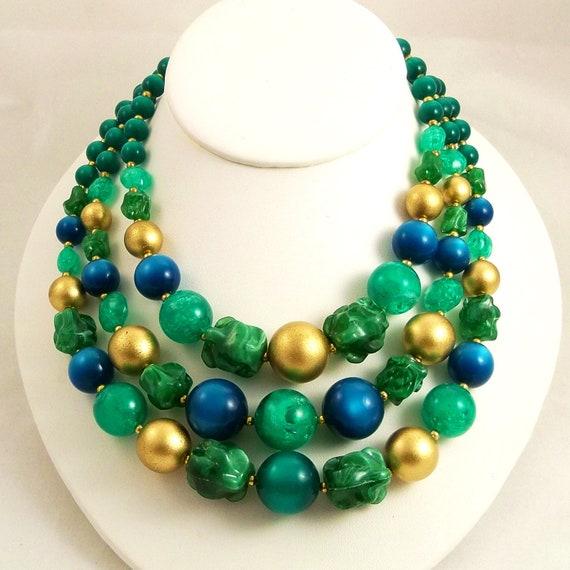 Vintage 60s Necklace Multi Strand Green Statement Blue Gold