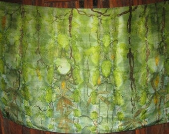 Original Silk painting rising moon jungle Free shipping
