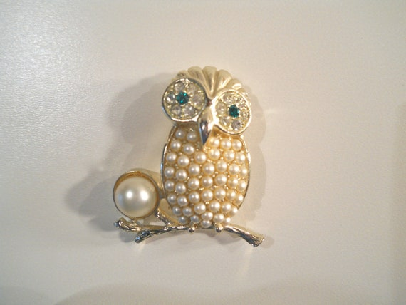 Vintage Cov Owl Brooch Sarah Covington Jewelry Holiday Pins