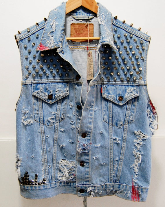 SALE was 250 now 200 dollars Vintage Levis Denim Cut of Vest super distressed with studs and Spikes tie dyed size xl free shipping
