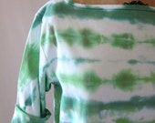 Upcycled women's T shirt, hand dyed green and white, boatneck, elbow length sleeves, size Large