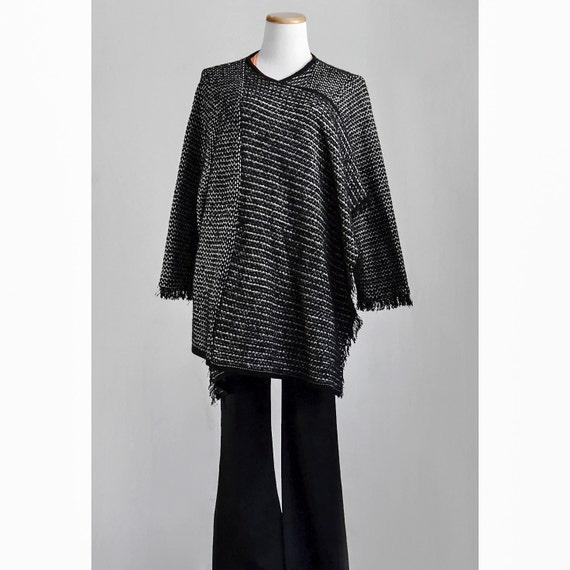 1980s Shawl Jacket / 80s Checked Cardigan Sweater Poncho / SALE