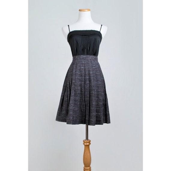 1960s Mod Mini Skirt / 60s Pleated Wool Skirt / Black Multicolor Skirt / SALE