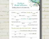 "MAD LIBS - Bridal Shower edition - ""Love Birds"" - Blue-Green color - set of 50 printed"