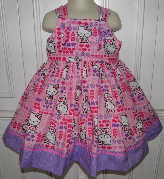 Hello Kitty Pink Purple Boutique Dress Hearts Butterflies Size 2T 3T 4T 5 6