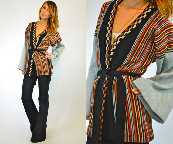 vertically STRIPED and CHECKERED casual cardigan WRAP sweater, extra small-large