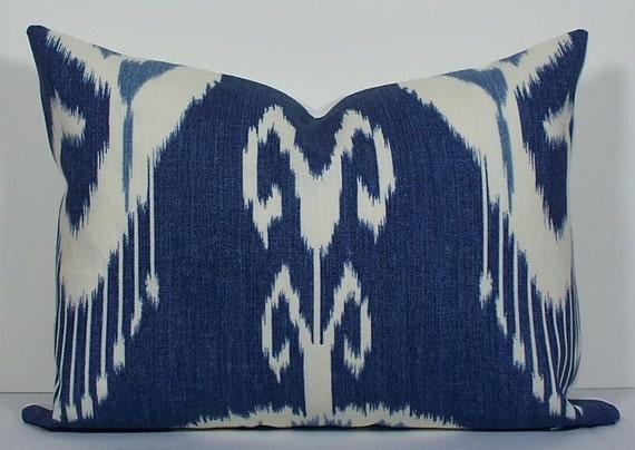 Decorative Pillow Cover - Ikat - 12x16 - linen - throw pillow - designer pillow - indigo - blue - winter white - lumbar