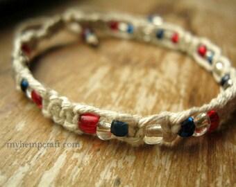 Macrame Hemp Bracelet, Red White & Blue, Natural Friendship Bracelet