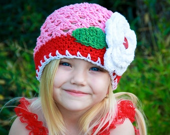 Crochet hat, Girl hat, Baby hat, Toddler Hat, Holiday Flapper Style Beanie in Pink, White, Red, and Sage, large flower with button center