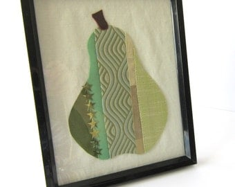 Patchwork Pear Picture Green Linen Silk Stars Sparkle Black Frame Brown Leather