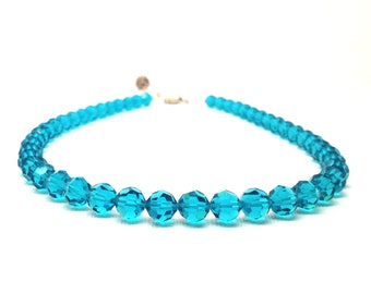 Blue Beaded Necklace, Blue Zircon Necklace, Beaded Choker, Blue Necklace, Swarovski Crystal Jewelry, Beaded Jewelry