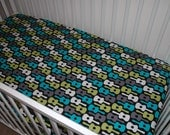 Custom MoDErN  Baby Crib Sheet/Toddler Bed Sheet in Michael Miller Groovy Guitars Lagoon. Or you choose the fabric.