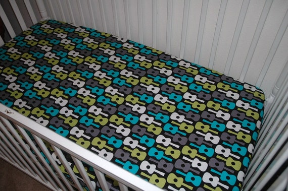 Baby Crib Sheet lToddler Bed Sheet l Michael Miller l Groovy Guitars Lagoon l Changing Pad Cover l Nursery Decor l Nursery Bedding