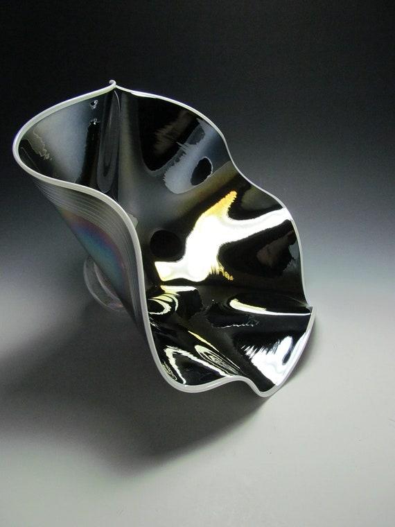 Blown Glass Bowl - Blown Glass - Glass Bowl - Black - Black Glass Art Glass - Art Glass Bowl