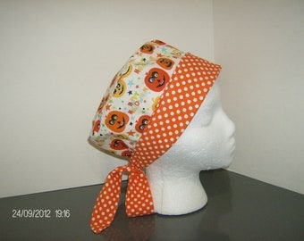 Happy Halloween Pumpkins with Orange and White Polka Dots 2 in 1 Chemo/Pixie Surgical Scrub Cap