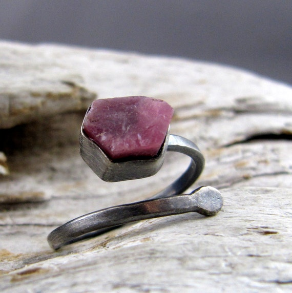 Raw Ruby Fine and Sterling Silver Oxidized Ring