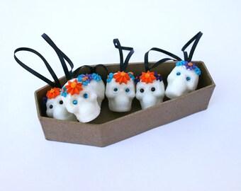 FREE COFFIN Mini Sugar Skull Ornaments Day Of The Dead one mini skull