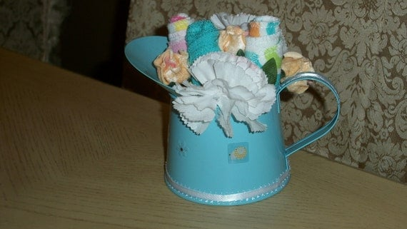 Shower Watering Can with Washcloths Centerpiece