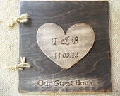 Rustic Wedding Guest Book - Stained Wood Guest Sign-In Book with Large Personalized Heart