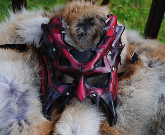 Ruby Demon Lord Leather Mask