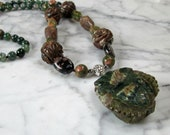Dark Green and Brown Jasper and Moss Agate OOAK Natural Crystal and Stone Heart Chakra Healing Necklace