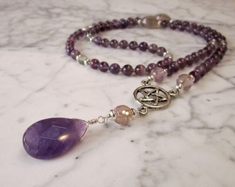 Pentagram Amethyst, Ametrine and Fluorite Stone and Crystal Crown Chakra Energy Healing Necklace
