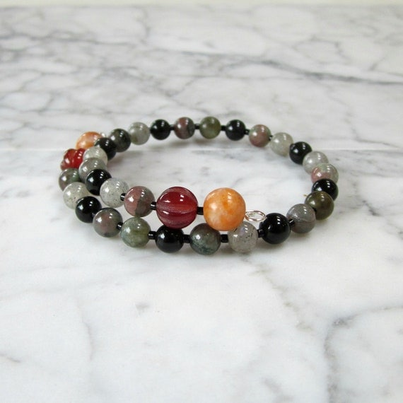 Don't Worry Be Happy v2 Natural Stone and Crystal Chakra Healing Bracelet