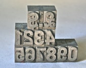 Vintage Letterpress Large Bold Gothic Numbers Type for Steampunk Collage Printing Stamping