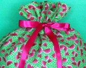 Watermelon Large Fabric Gift Bag - Watermelon Slice, Slices, Seeds, Fruit, Food, Summer, Pink, Green, White, Black, All Occasion