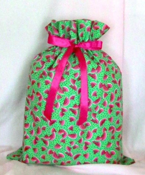 Watermelon Medium Fabric Gift Bag - Watermelon Slice, Slices, Seeds, Fruit, Food, Summer, Pink, Green, White, Black, All Occasion