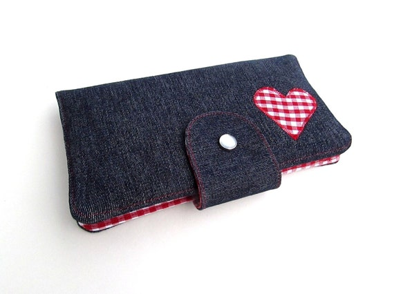 Denim Red Gingham Heart Long Clutch Wallet