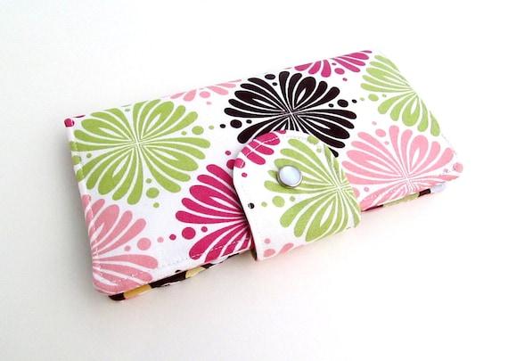 Long Clutch Wallet- Cream Pink Brown Green